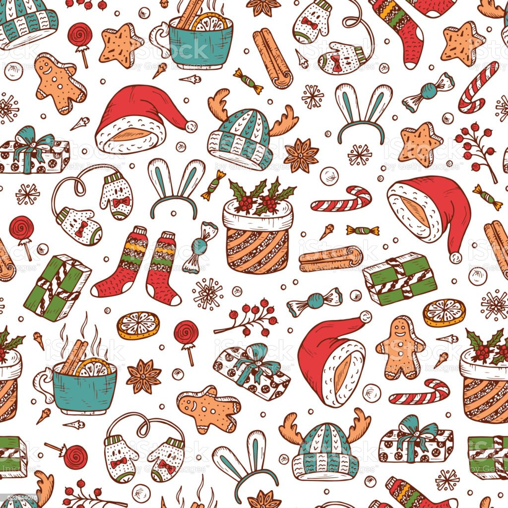 Christmas Background Vector.Christmas Background Vector Xmas Seamless Pattern Doodle