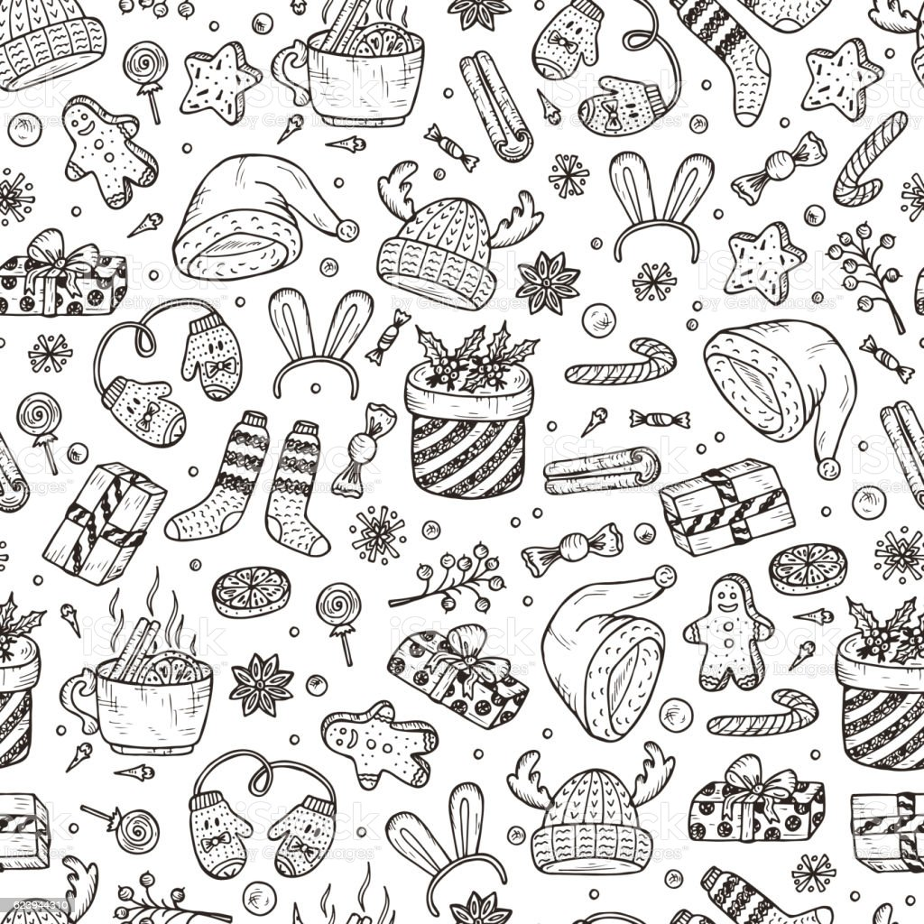 Christmas Background Vector Xmas Seamless Pattern Doodle ...