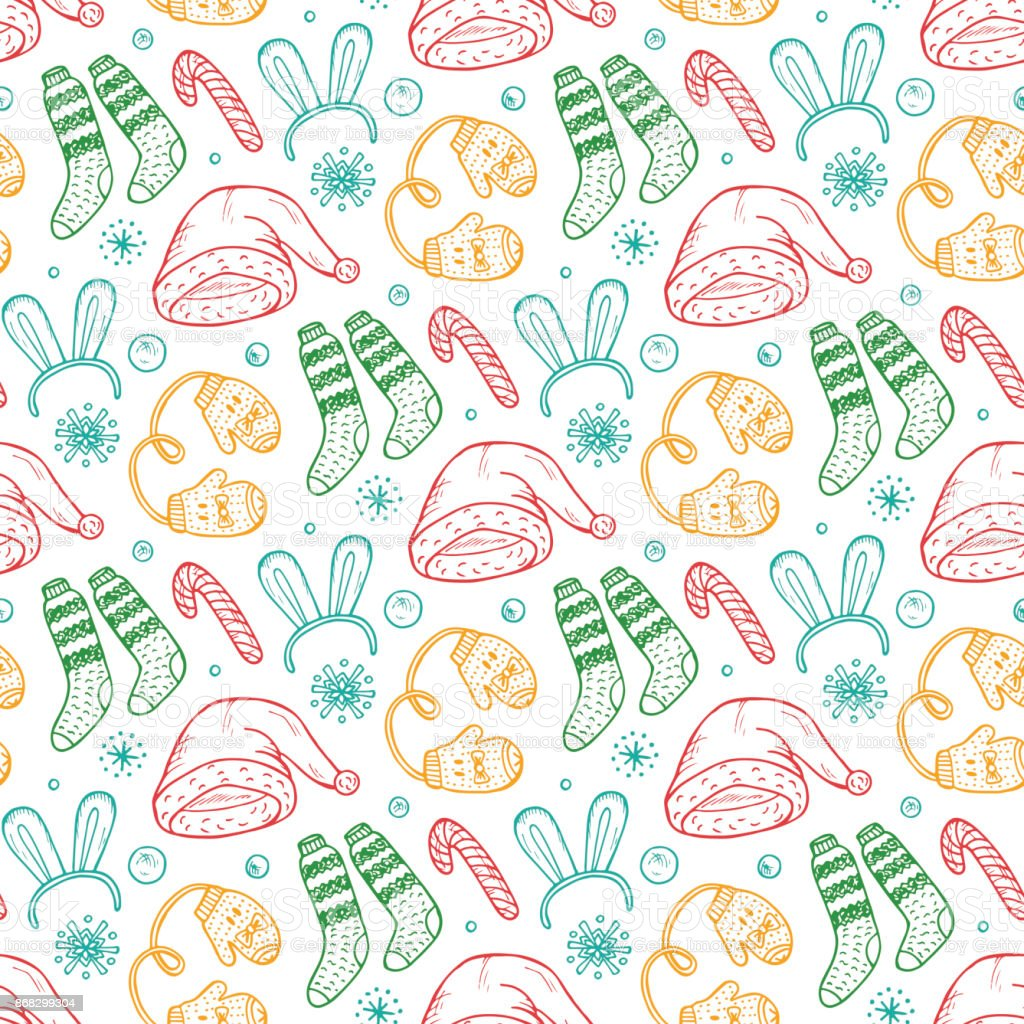 0f3e198cd0914 Christmas background. Vector Xmas Seamless pattern. Doodle Christmas  festive clothes. Santa hats