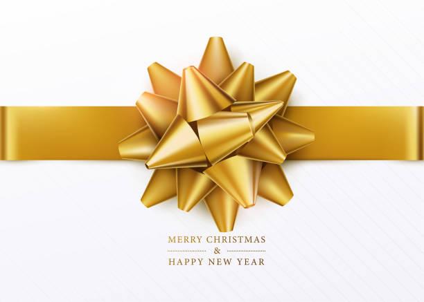 크리스마스 배경입니다. 골든 나비와 수평 리본 화이트 선물 상자 - 머리 리본 stock illustrations