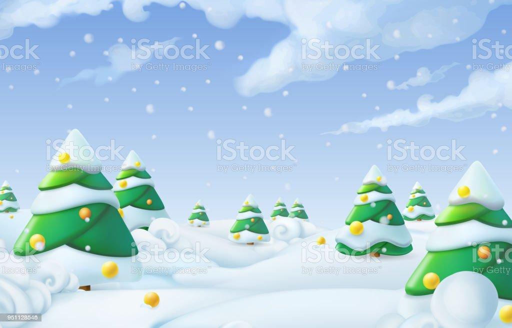 Weihnachten Hintergrund Winterlandschaft 3d Vektorillustration Stock ...