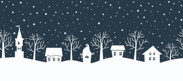 Christmas background. Winter village. Seamless border vector art illustration