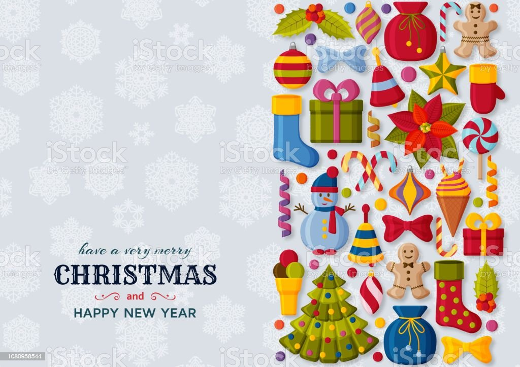Christmas Backgrounds Cute.Christmas Background With 3d Paper Cut Signs Cute Kids Toys And Accessories Snowfall At The Back New Year Greeting Card Or Banner Concept Vector