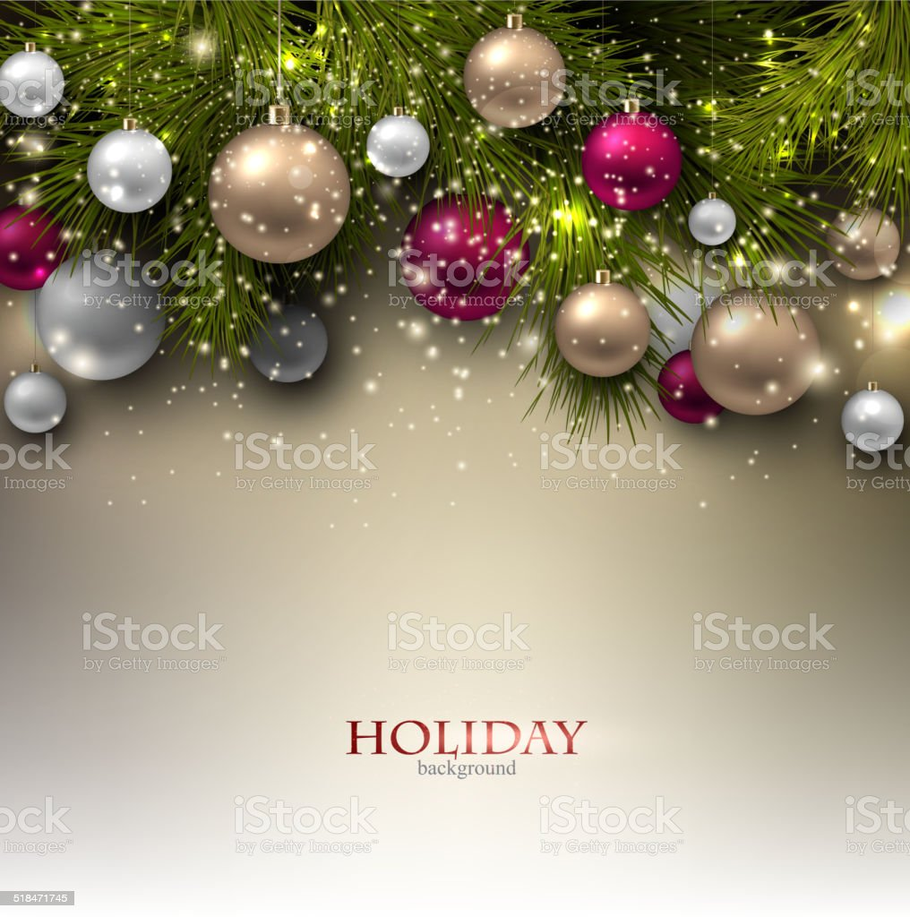 Christmas background with balls. Colorful Xmas baubles. Vector vector art illustration