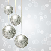 Christmas Background With Baubles On Ribbons Balls Abstract Floral Ornament For New Year And Cute Gift Cards