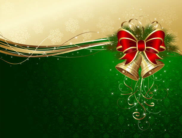 Christmas background with bells and decorative bow vector art illustration