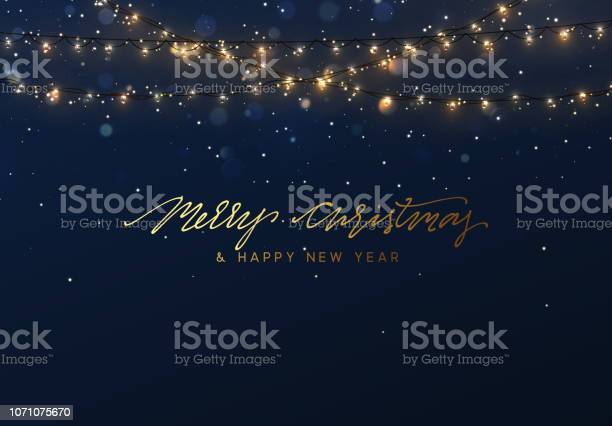 Boże Narodzenie Tło Z Jasnymi Realistyczne Girlandy - Stockowe grafiki wektorowe i więcej obrazów Abstrakcja