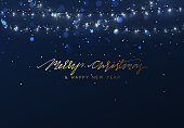 Christmas background with bright realistic garlands. Christmas glowing lights. Xmas Holiday. Greeting cards design