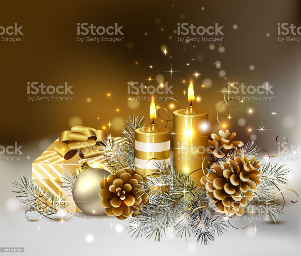 Christmas background with burning candles and pine cones. vector art illustration