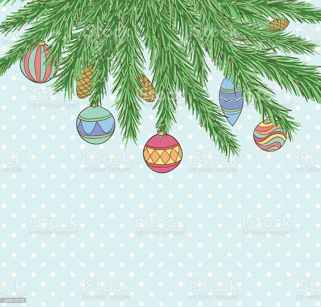 3f10852e89f Fondo de Navidad con bolas de Navidad colgar en una rama de árbol de navidad  ilustración