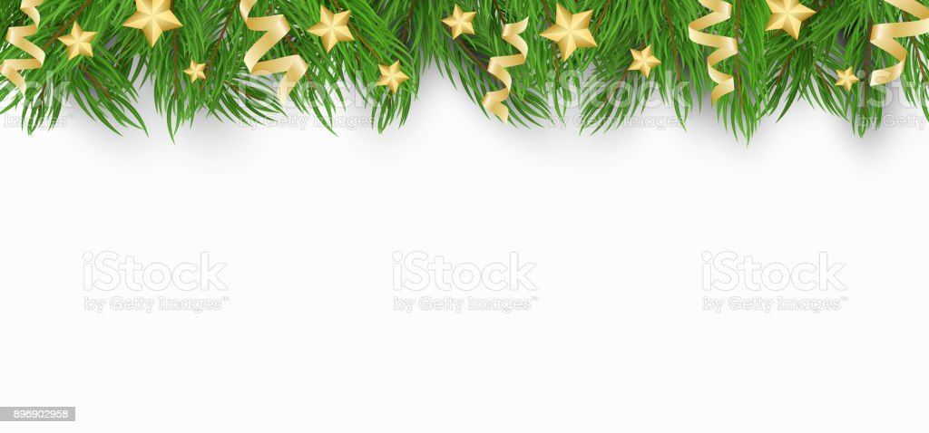 Christmas Background With Christmas Tree Golden Stars And