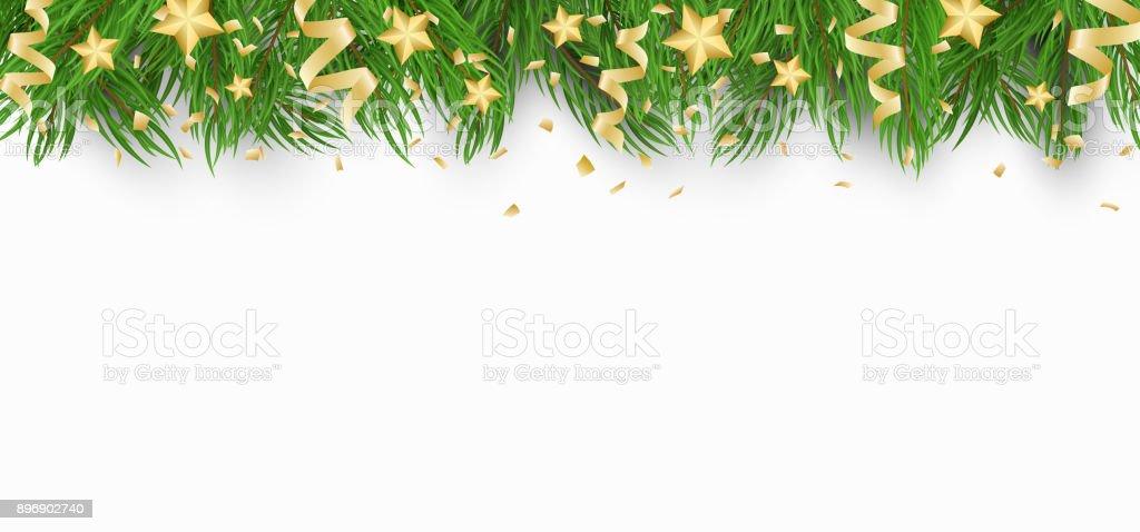 Weihnachten Hintergrund Mit Goldenen Sternen Weihnachtsbaum Und ...