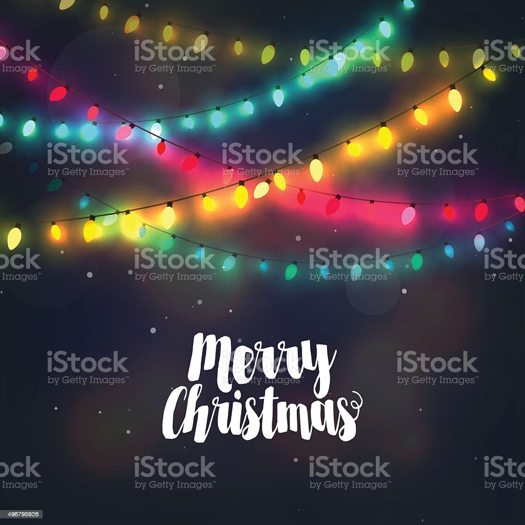 Christmas background with colorful light garlands and Merry Christmas lettering vector art illustration