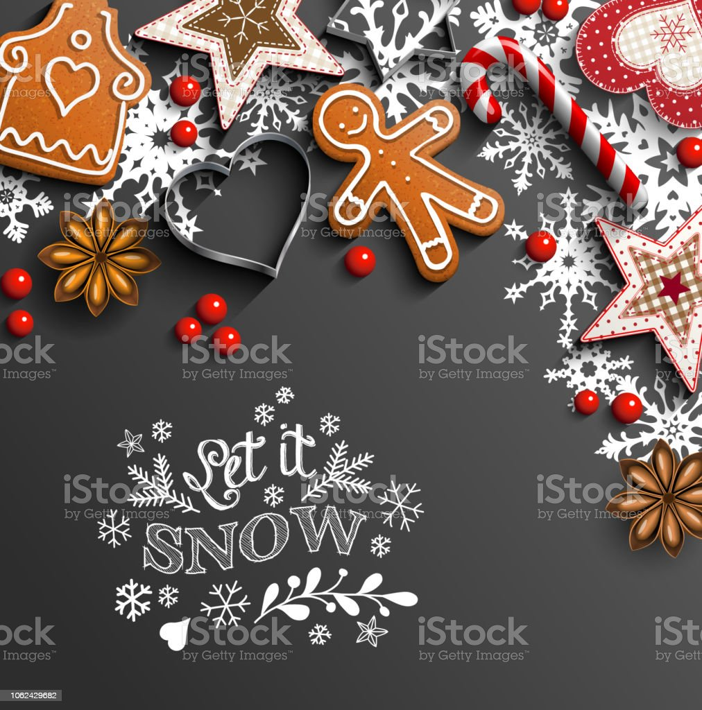 Christmas background with cookies and ornaments and snowflakes - Royalty-free Abstrato arte vetorial
