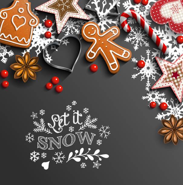 ilustrações de stock, clip art, desenhos animados e ícones de christmas background with cookies and ornaments and snowflakes - bolacha