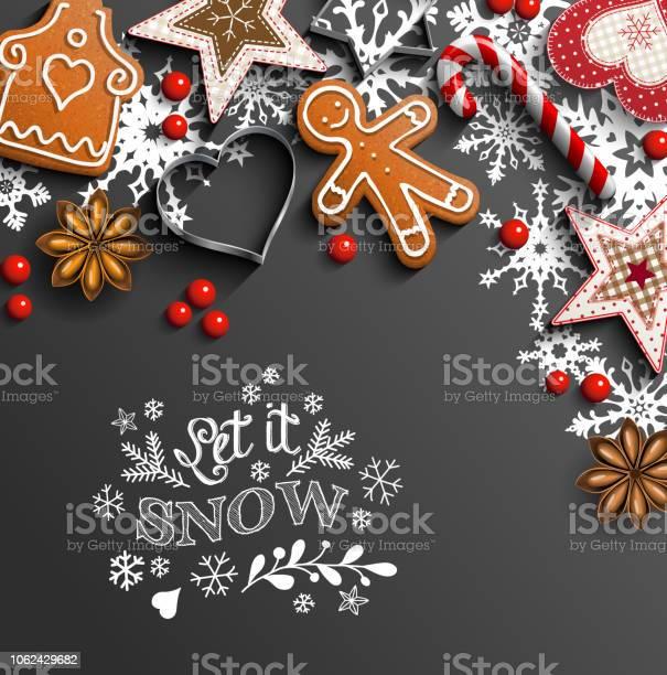Christmas Background With Cookies And Ornaments And Snowflakes - Arte vetorial de stock e mais imagens de Abstrato