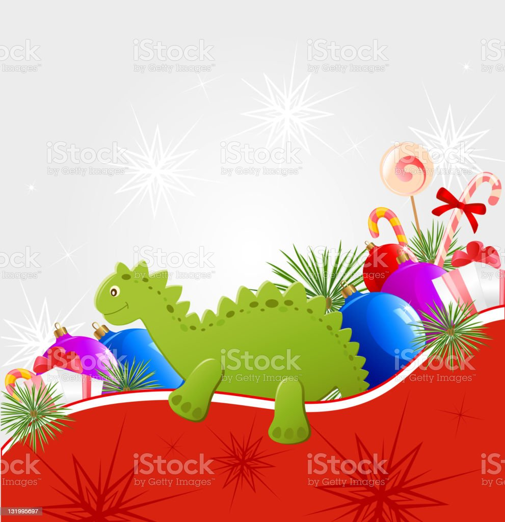Christmas  background with dragon vector art illustration