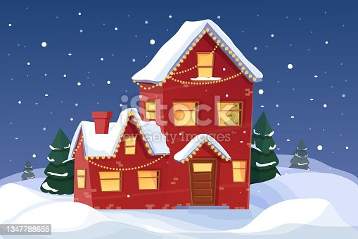 istock Christmas background with fairy tale house and forest in snowfall night scene in cartoon style. Holiday greeting, design element. Vector illustration 1347788655