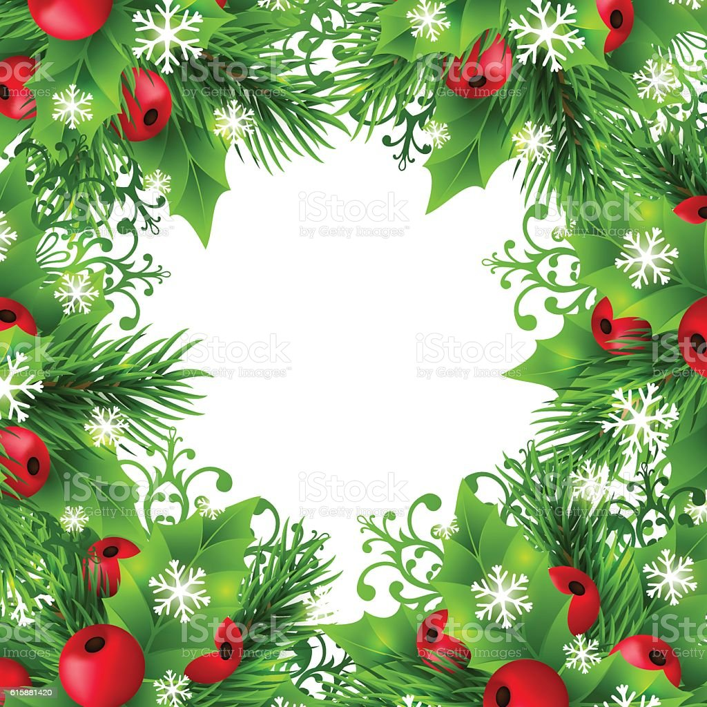 Christmas Decorations Background Pictures: Christmas Background With Fir And Holly Decorations Stock