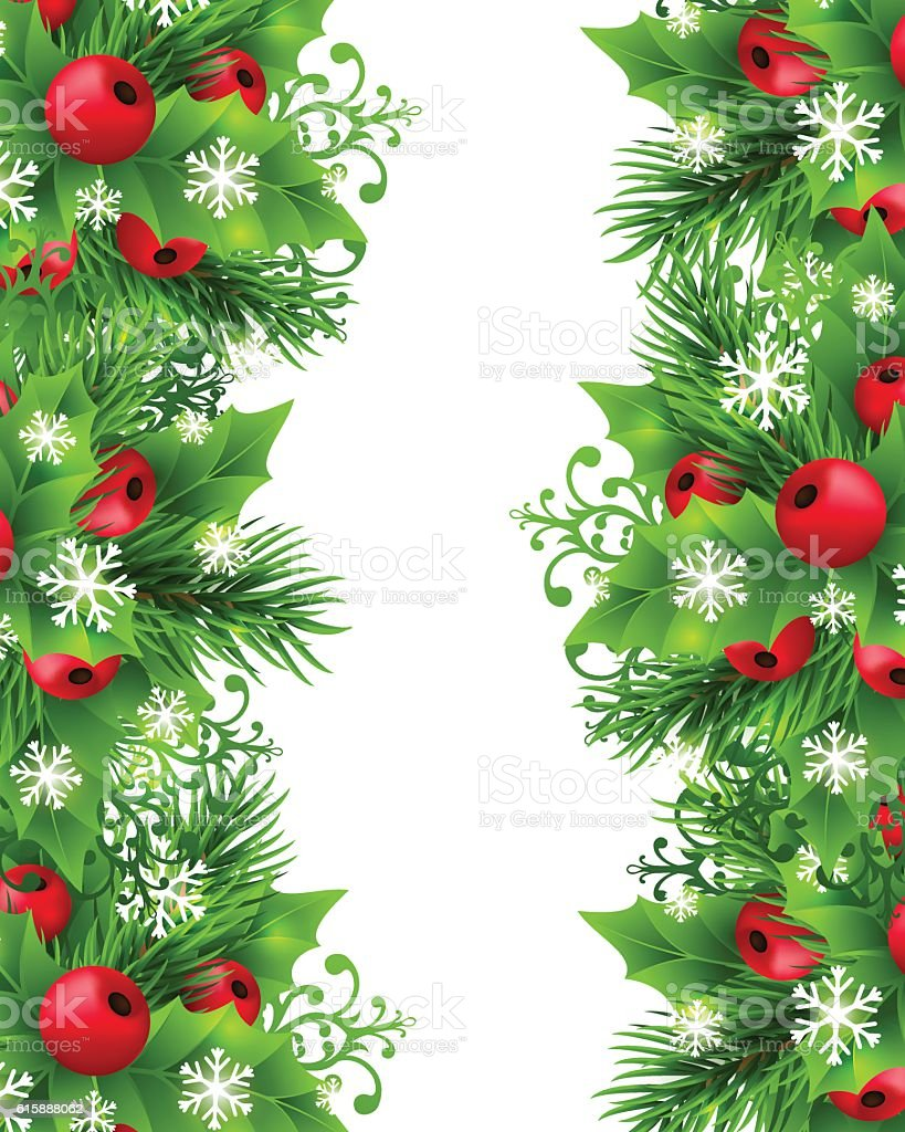 Christmas Background With Fir And Holly Decorations Royalty Free