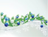 Vector illustration christmas background with fir branch, blue balls and gift box