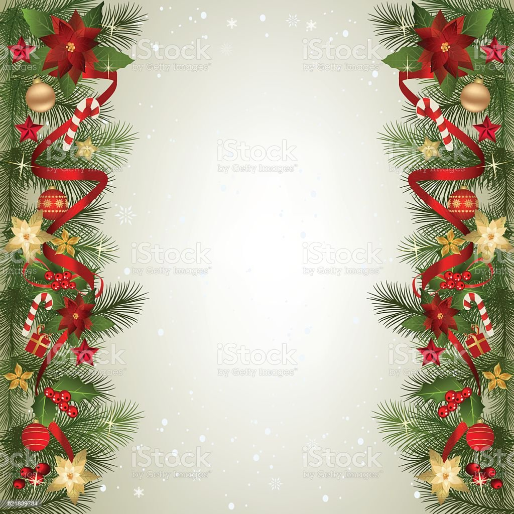 Christmas Decorations Background Pictures: Christmas Background With Fir Branch Border And Decoration