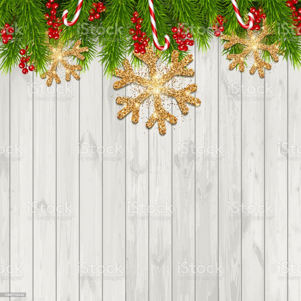 Christmas Backgrounds.Christmas Background With Fir Branches And Red Berries Isolated On Wood Background Stock Illustration Download Image Now