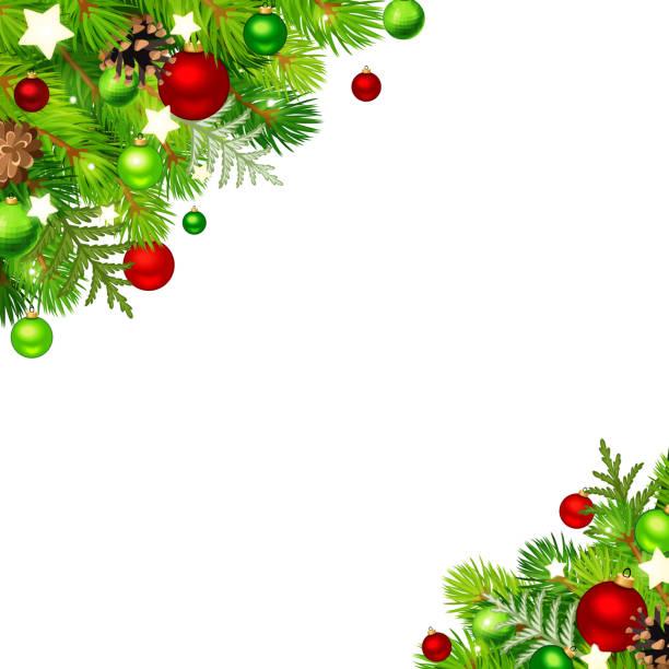 Weihnachten Hintergrund mit Tannenzweigen, rote und grüne Kugeln, Zapfen und Sterne. Vektor-Illustration. – Vektorgrafik