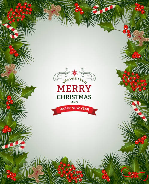 Christmas background with fir branches Christmas background with fir branch borders and decorative elements.Christmas border with trees, berry, and other Christmas ornaments christmas borders stock illustrations