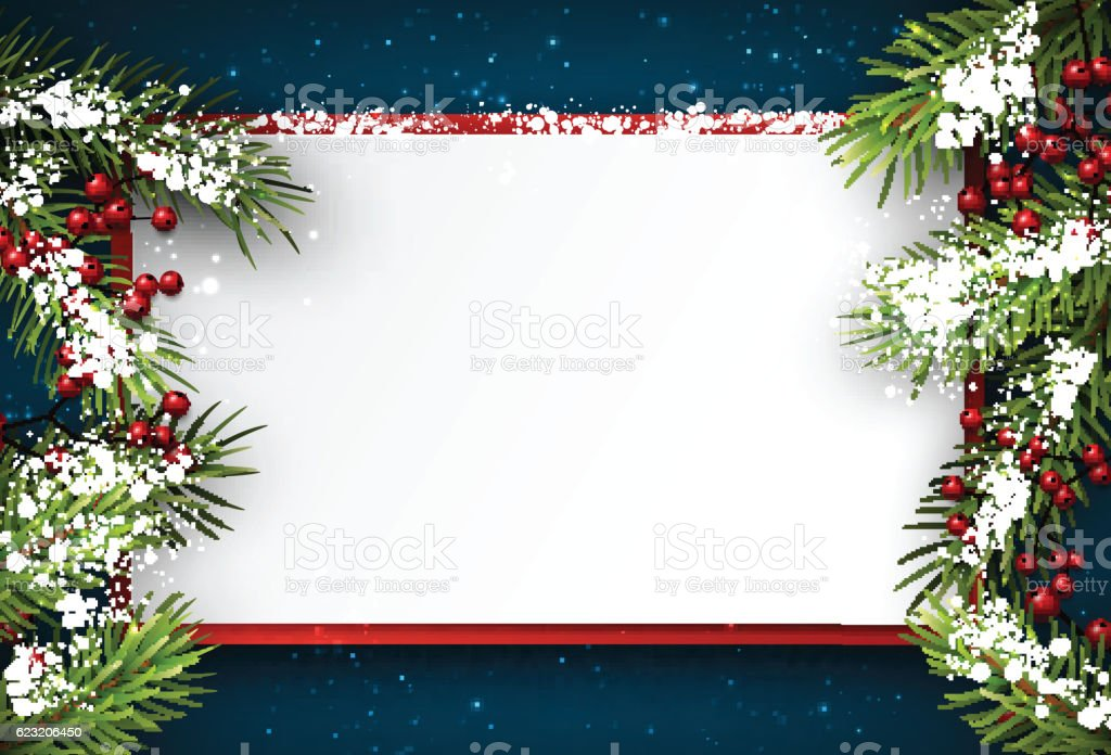 Christmas background with fir branches. vector art illustration