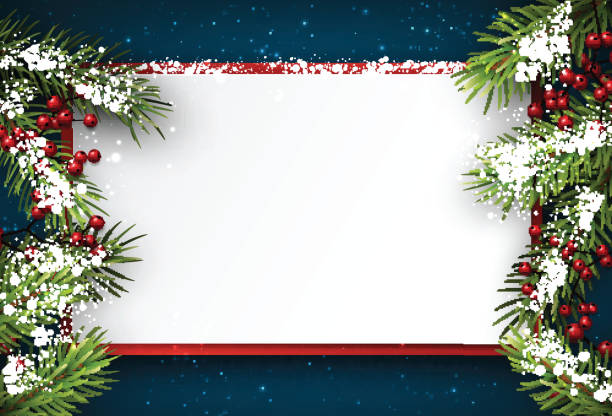 christmas background with fir branches. - holiday stock illustrations, clip art, cartoons, & icons