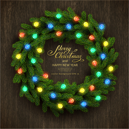 Christmas background with fir garland