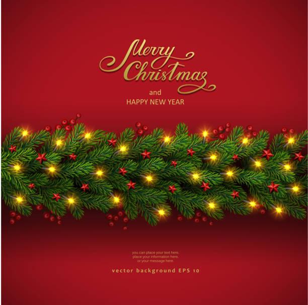 christmas background with fir tree and electric garland - gałąź część rośliny stock illustrations