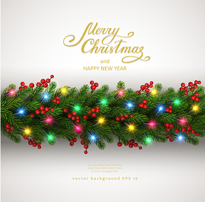 Christmas background with fir tree and electric garland