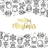 istock Christmas background with flat icons. 624770642