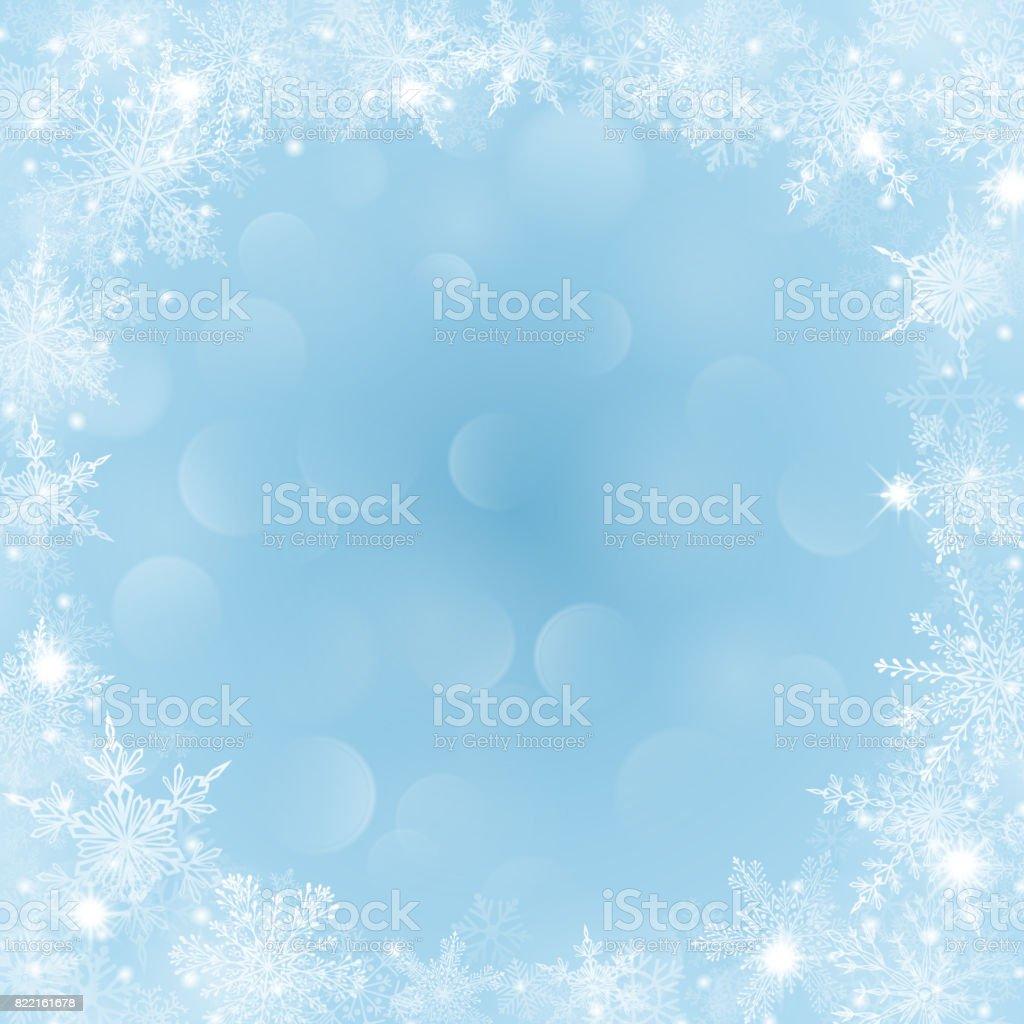 Weihnachten Hintergrund Mit Rahmen Aus Schneeflocken Und Bokeheffekt ...