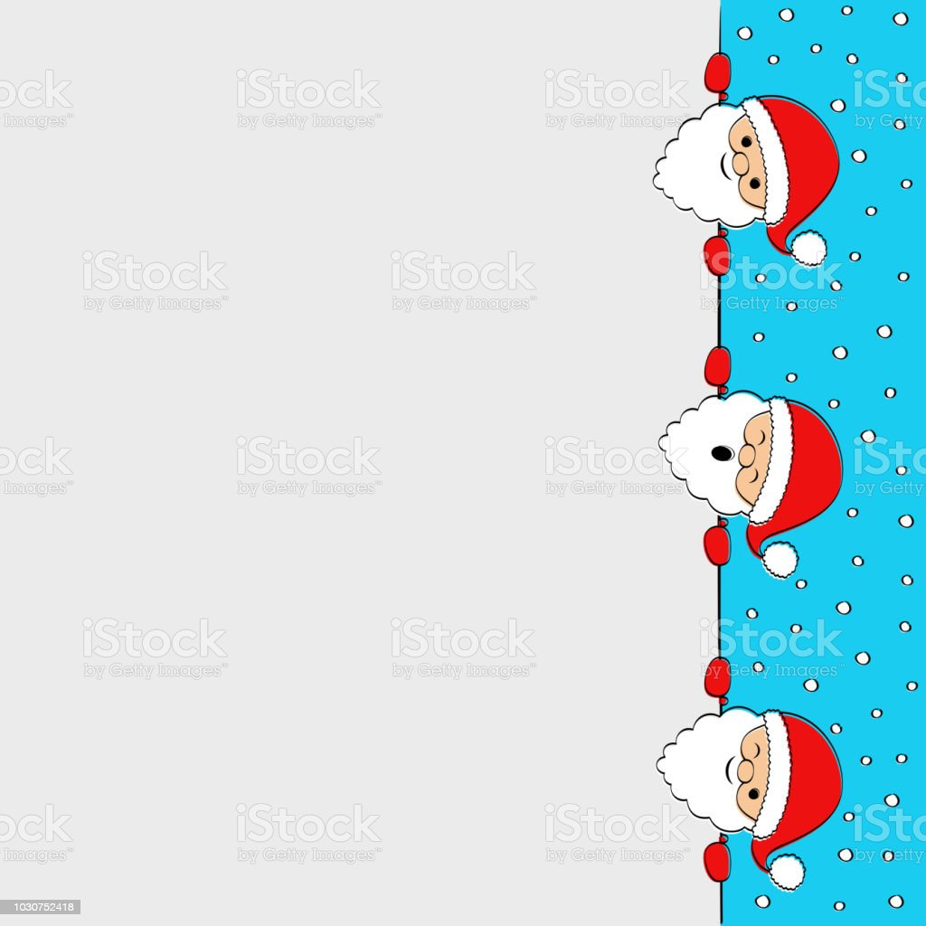 christmas background with funny santa claus and copyspace vector