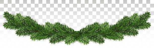 bildbanksillustrationer, clip art samt tecknat material och ikoner med jul bakgrund med garland, nyår dekoration med fir grenar, pärlor och holly berry. en bred krans tall grenar. nytt år. vektor. eps10. - gran