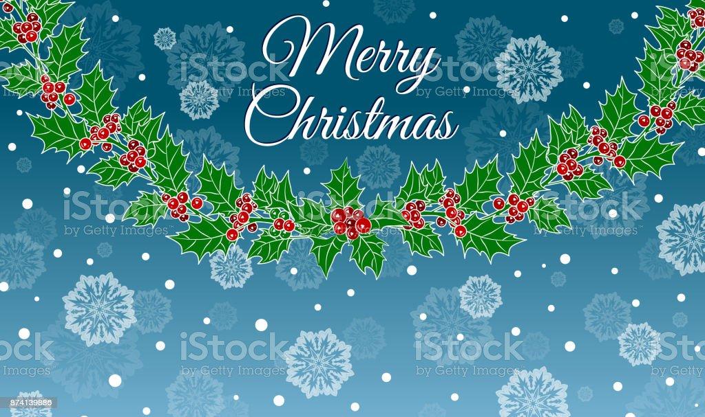 Weihnachten Hintergrund Mit Girlande Von Holly Schneeflocken Und Die ...
