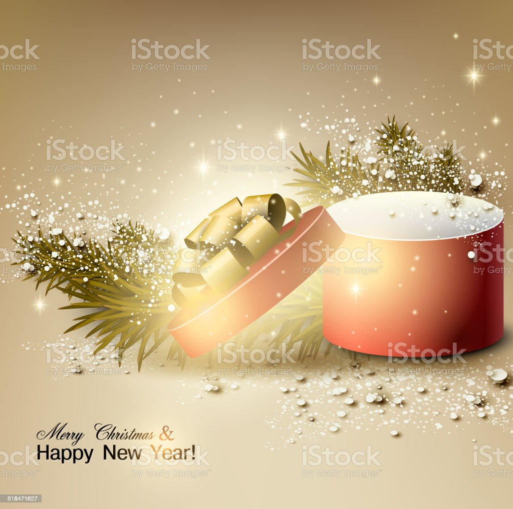 Weihnachten Hintergrund Mit Geschenk Weihnachtsbox Mit Schleife ...