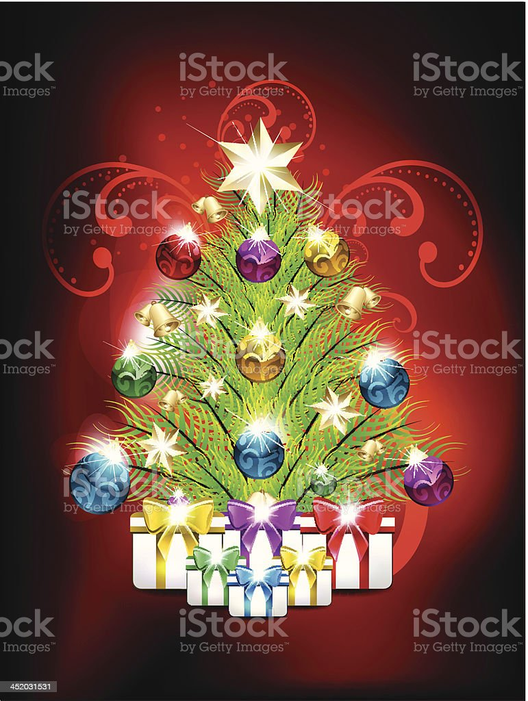 Christmas Background With Gifts royalty-free stock vector art