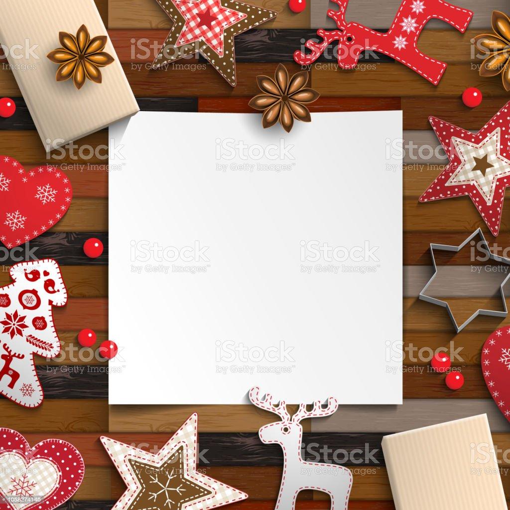 Weihnachten Hintergrund Mit Lebkuchen Und Rustikale Ornamente Stock ...