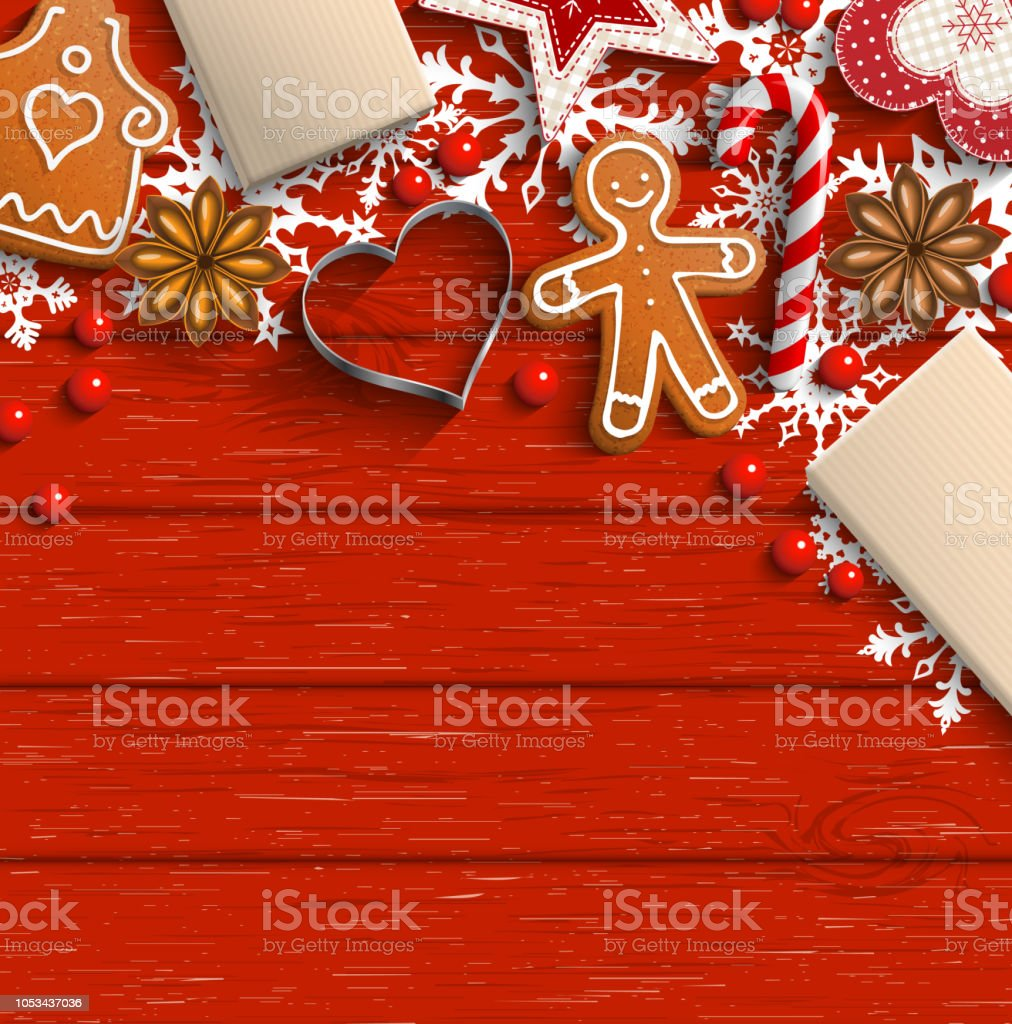 Christmas background with gingerbread, spices and ornaments - Royalty-free Abstrato arte vetorial