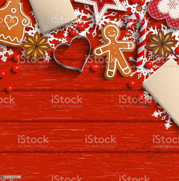 Christmas Background With Gingerbread Spices And Ornaments - Arte vetorial de stock e mais imagens de Abstrato