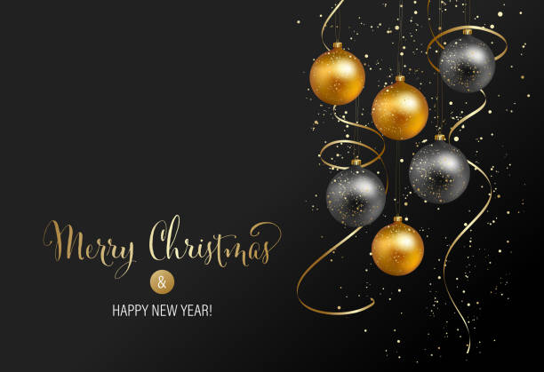 illustrazioni stock, clip art, cartoni animati e icone di tendenza di christmas background with gold baubles and serpentine - sfondo feste e party