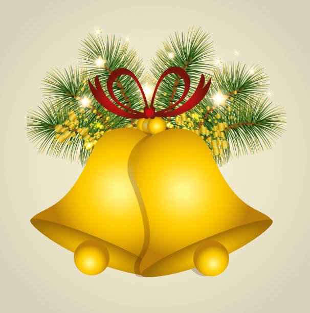 Christmas Background With Gold Bells Vector Art Illustration