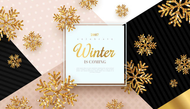 christmas background with gold snowflakes - winter fashion stock illustrations, clip art, cartoons, & icons
