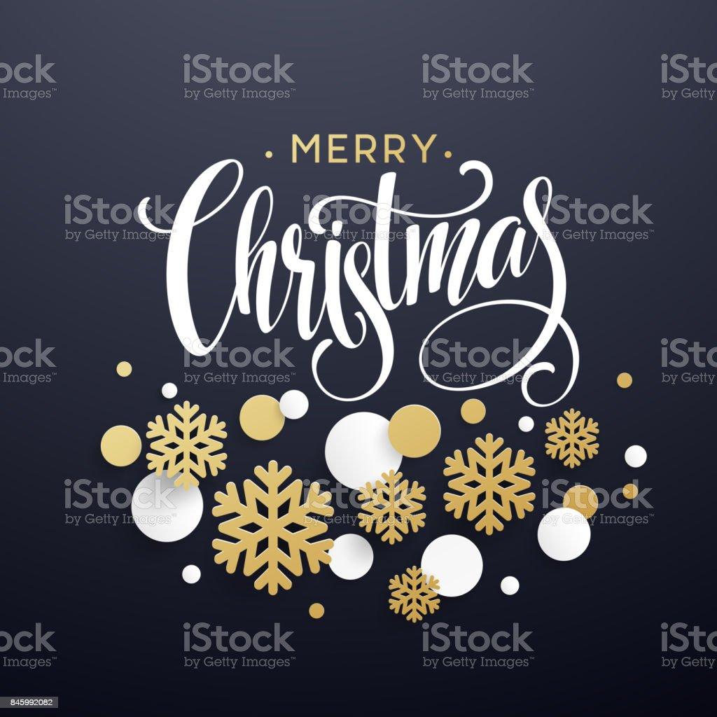 Ilustración de Fondo De Navidad Con Copos De Nieve De Papel Dorado Y ...