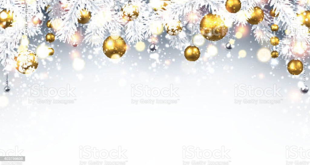 Christmas Background Images Gold.Christmas Background With Golden Balls Stock Illustration