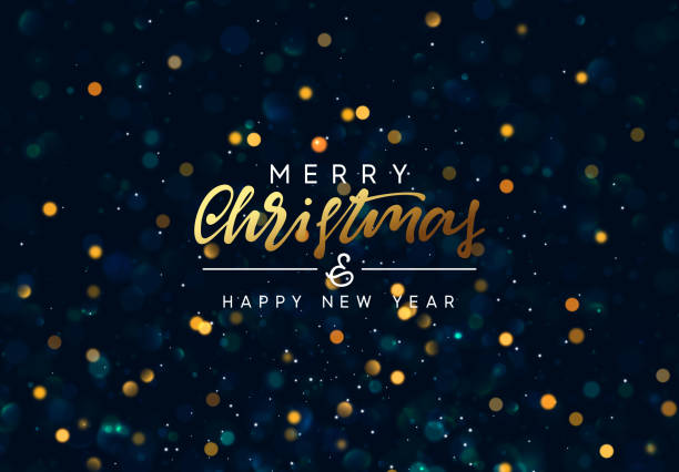 Christmas background with golden lights bokeh. Christmas background with golden lights bokeh. Xmas greeting card. Magic holiday poster, banner. Night bright gold sparkles background. Merry Christmas and Happy New Year christmas backgrounds stock illustrations